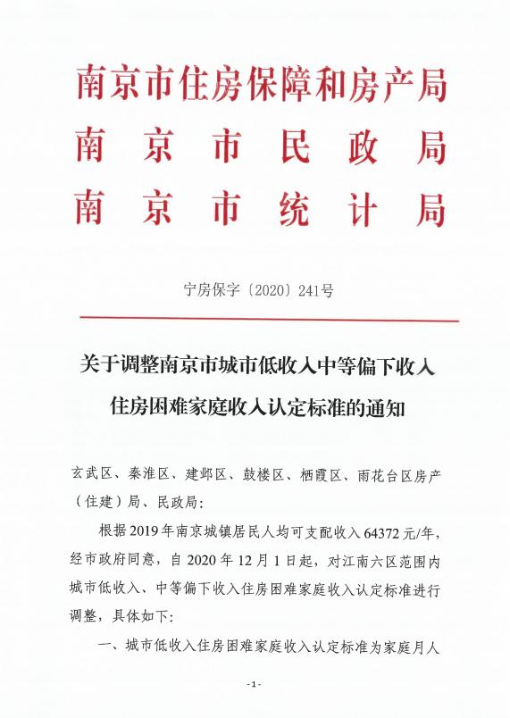 南京调整城市中低收入住房困难家庭标准 中等偏下:家庭月人均可支配收入4291元