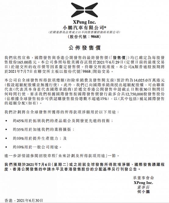 小鹏汽车港股发行价每股165港元   将于7月7日上市交易